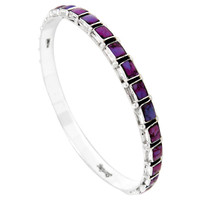 Sterling Silver Bangle Bracelet Purple Turquoise B5529A-C77