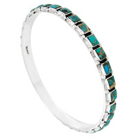Sterling Silver Bangle Bracelet Matrix Turquoise B5529A-C84