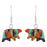 Sterling Silver Bear Earrings Multi Gemstones E1234-C00