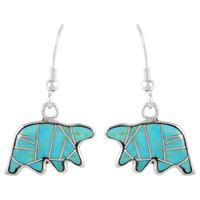 Sterling Silver Bear Earrings Turquoise E1234-C05