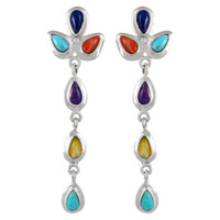 Sterling Silver Chandelier Earrings Multi Gemstones E1204-SM-C71
