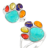 Sterling Silver Paw Ring Multi Gemstone R2405-C71