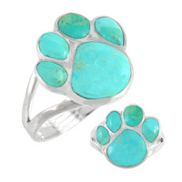 Sterling Silver Paw Ring Turquoise R2405-C75