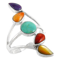 Sterling Silver Ring Multi Gemstone R2406-C71