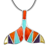 Sterling Silver Whale Tail Pendant Multi Gemstone P3188-C01