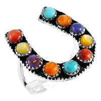 Sterling Silver Horseshoe Ring Multi Gemstone R2409-C71