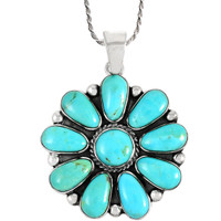 Sterling Silver Flower Pendant Turquoise P3193-C75