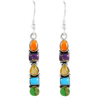Sterling Silver Earrings Multi Gemstones E1243-C72