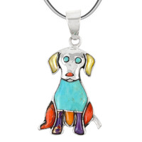 Sterling Silver Puppy Dog Pendant Multi Gemstones P3237-C01