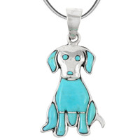 Sterling Silver Puppy Dog Pendant Turquoise P3237-C05