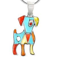 Sterling Silver Puppy Dog Pendant Multi Gemstones P3238-C01