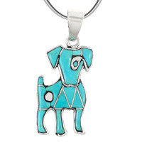 Sterling Silver Puppy Dog Pendant Turquoise P3238-C05