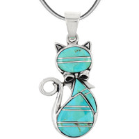 Sterling Silver Kitty Cat Pendant Turquoise P3251-C05