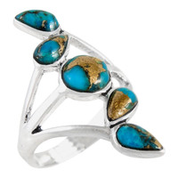 Sterling Silver Ring Matrix Turquoise R2406-C84
