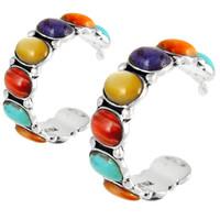 Sterling Silver Hoop Earrings Multi Gemstones E1245-C71