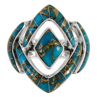 Sterling Silver Ring Matrix Turquoise R2040-C84