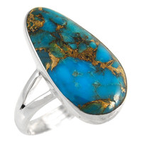 Sterling Silver Ring Matrix Turquoise R2027-C84
