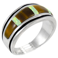 Sterling Silver Mens or Ladys Ring Tiger Eye R2024-C29