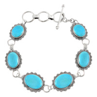 Turquoise Link Bracelet Sterling Silver B5555-C75