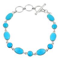 Sterling Silver Link Bracelet Turquoise B5557-C75