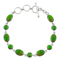 Sterling Silver Link Bracelet Green Turquoise B5557-C76