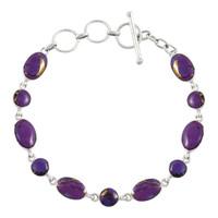 Sterling Silver Link Bracelet Purple Turquoise B5557-C77