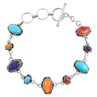 Sterling Silver Link Bracelet Multi Gemstone B5560-C71