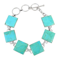 Turquoise Link Bracelet Sterling Silver B5559-C75