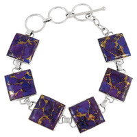 Purple Turquoise Link Bracelet Sterling Silver B5559-C77