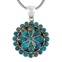 Sterling Silver Flower Pendant Matrix Turquoise P3060-C84