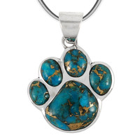 Sterling Silver Paw Pendant Matrix Turquoise P3178-C84