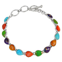 Sterling Silver Link Bracelet Multi Gemstone B5565-C71