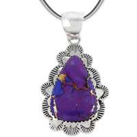 Sterling Silver Pendant Purple Turquoise P3261-C77