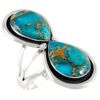 Sterling Silver Ring Matrix Turquoise R2422-C84