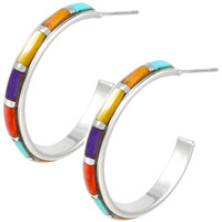 Sterling Silver Hoop Earrings Multi Gemstones E1255-C01