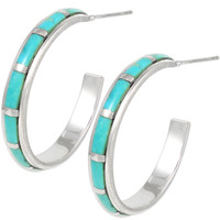 Sterling Silver Hoop Earrings Turquoise E1255-C05