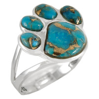Sterling Silver Paw Ring Matrix Turquoise R2405-C84