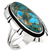 Sterling Silver Ring Matrix Turquoise R2380-C84