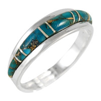 Sterling Silver Ring Matrix Turquoise R2264-C84