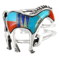 Sterling Silver Horse Ring Multi Gemstone R2018-C00