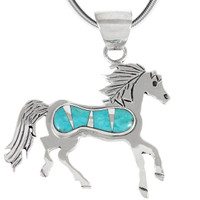 Sterling Silver Horse Pendant Turquoise P3267-C05