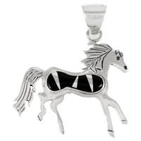 Sterling Silver Horse Pendant Black Shell P3267-C11