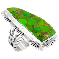 Sterling Silver Ring Green Turquoise R2032-C76
