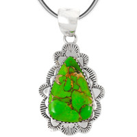 Sterling Silver Pendant Green Turquoise P3261-C76