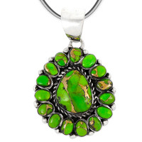 Sterling Silver Pendant Green Turquoise P3137-SM-C76