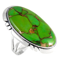 Sterling Silver Ring Green Turquoise R2429-C76