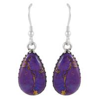 Sterling Silver Earrings Purple Turquoise E1261-C77