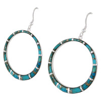 Sterling Silver Earrings Matrix Turquoise E1187-C84