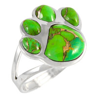 Sterling Silver Paw Ring Green Turquoise R2405-C76
