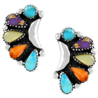 Sterling Silver Earrings Multi Gemstones E1264-C71
